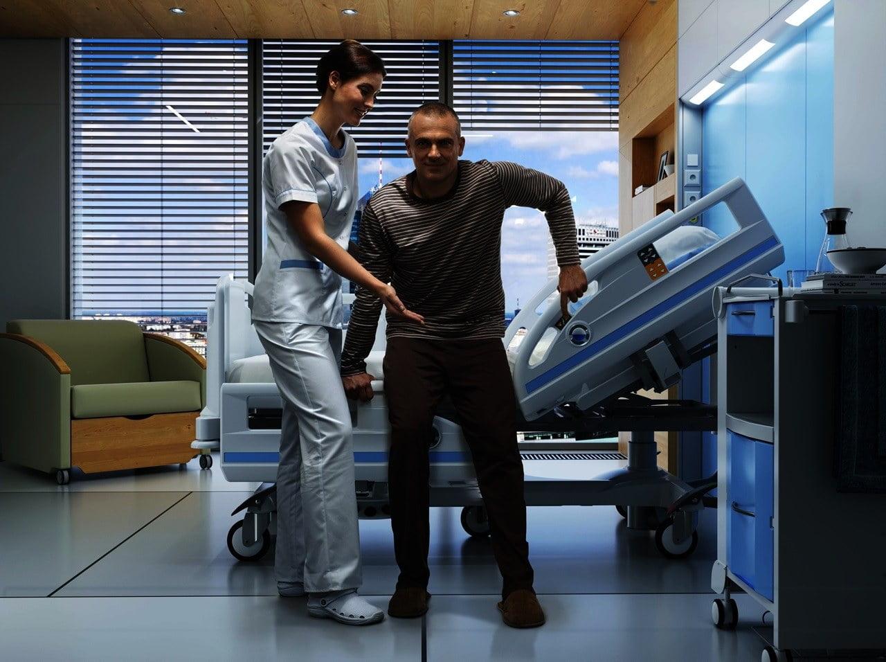 Hospitalssenge med udstigningshjælp