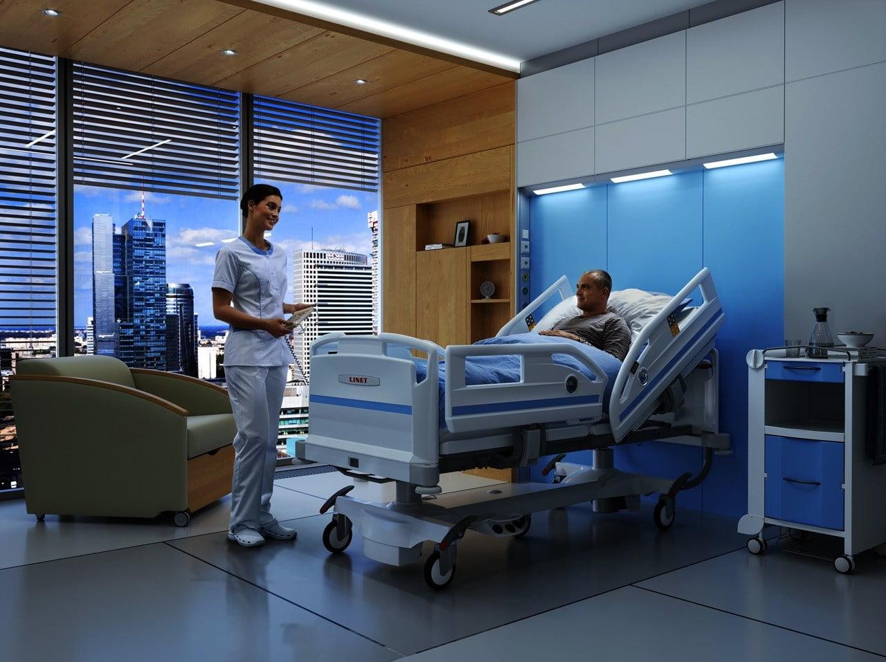 Hospitalsseng med udstigningshjælp