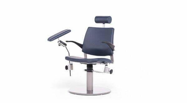 Prøvetagningsstol med nakkestøtte og rund fod
