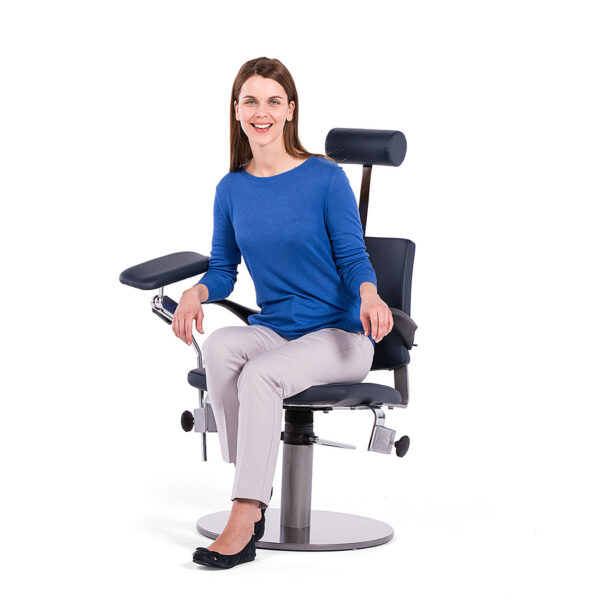 Prøvetagningsstol med patient